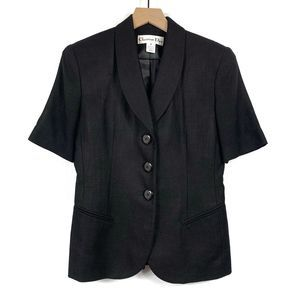 Christian Dior Black Short Sleeve Blazer Size 2